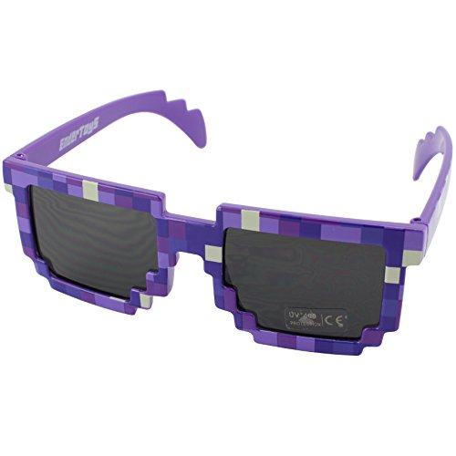 Pixel Kids Sunglasses Purple, Novelty Retro Gamer Geek Glasses for Boys and Girls Ages 6+ by EnderToys