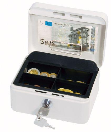 Wedo 145100H Geldkassette (aus pulverbeschichtetem Stahl, versenkbarer Griff, Geldnoten- und Belegeklammer, 4-Fächer-Münzeinsatz, Sicherheits-Zylinderschloss, 15,2 x 11,5 x 8,0 cm) weiß