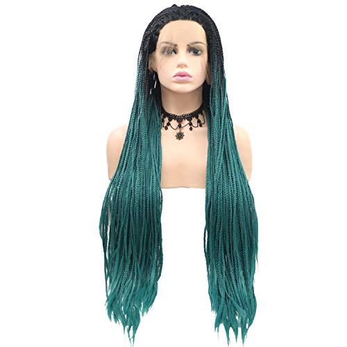 Scra AC Peluca de pelo largo trenzado degradado negro y verde peluca de las señoras hechas a mano encaje europeo y peluca conjunto peluca