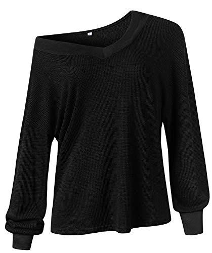 Langarm Flügelhülse Dolman Ärmel V-Ausschnitt Asymmetrisch One Shoulder Schulterfrei Schulterfreies Bardot Sweatshirt T-Shirt Oberteil Top Schwarz L