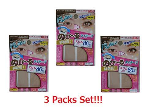 DAISO JAPAN Natural Double Eyelid Nudy Tape Slim   86 pcs   Bandage type (Set of 3)