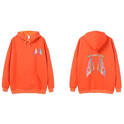 JYQH Sudadera con capucha y forro polar con estampado reflectante de hip suelto – Hop suelto, color naranja-L
