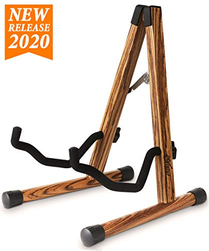 Wood Guitar Stand, Compact Electric Guitar Stand with Padded Foam, Classical Acoustic Guitar Stand, A-Frame Folding Bass Guitar Display Stand Compatible with Cello, Mandolin, Fender, Gibson, Taylor
