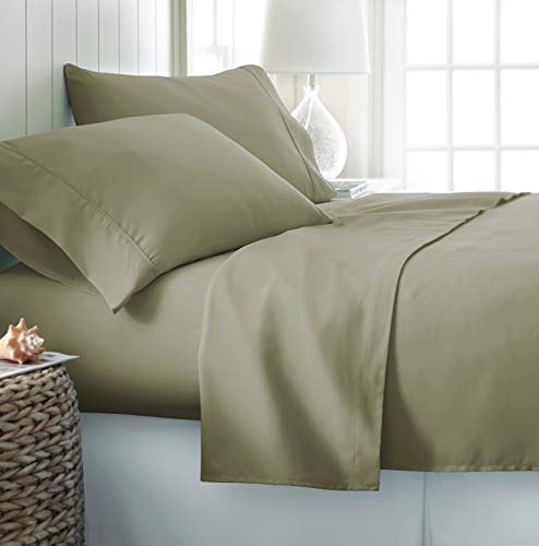 ienjoy Home Hotel Collection Luxury Soft Brushed Bed Sheet Set, Hypoallergenic, Deep Pocket, Queen, Sage