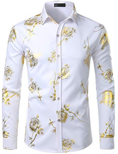 ZEROYAA Mens Hipster 3D Golden Rose Floral Printed Slim Fit Long Sleeve Button Down Dress Shirts ZZCL22 White Medium
