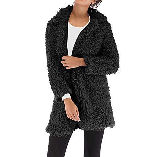 N\P Abrigo de lana cálido para mujer con solapa larga de lana