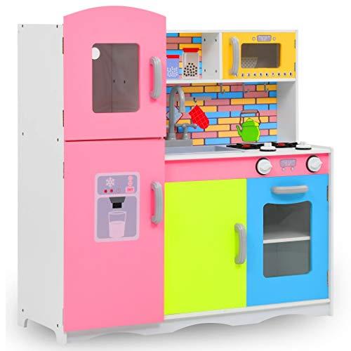 vidaXL Cocinita de Juguete MDF Juego Simulación Infantil Cocina Miniatura Diversión Niño/as Pequeños/as Resistente Duradera Multicolor 80x30x85cm