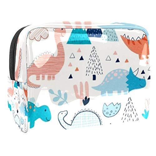 Bolsa de maquillaje portátil con cremallera bolsa de aseo de viaje para las mujeres práctico almacenamiento cosmético bolsa de dinosaurio caminar