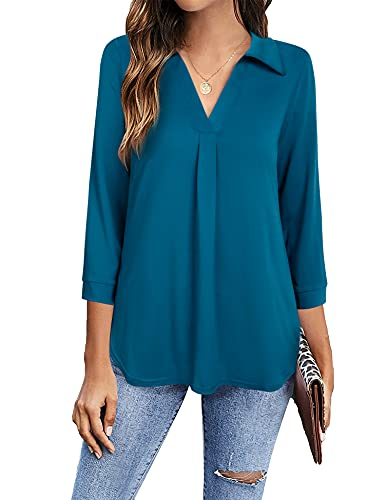 Timeson Womens Blouses for Work,Ladies Business Attire Office Dress Shirts 3/4 Sleeve Tops for Women for Leggings Casual V Neck Tunics Tops Fall Sheer Career Fitted Clothes Polyester Silk Tops Teal