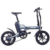 Bicicleta Plegable Bicicleta Eléctrica Electric City, con 250W De Motor 13 Ah Batería De Litio Recargable 50 Kilómetro 16'Ciudad E-Bici Adulta De La Velocidad De Plegado De hasta 25 Km/H para,Gris