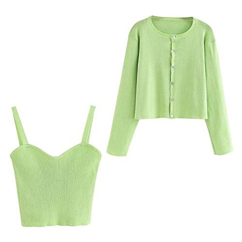 NDJqer Summer Women 'S Solid Green Cardigan Knitted Sweater Two Pieces Set Streetwear Sexy Tops-Cardigan and Vest-L