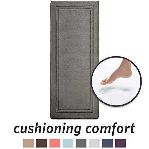 "MICRODRY Quick Drying Memory Foam Framed Bath Mat Runner with GripTex Skid Resistant Base | 24"" x 58' 
