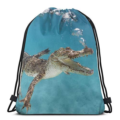 Affordable shop Rucksack mit Kordelzug, Krokodil zum Schwimmen unter Wasser, leicht, für Fitnessstudio, Reisen, Yoga, Freizeit, Snackpack, Schultertasche für Wandern, Schwimmen, Strand