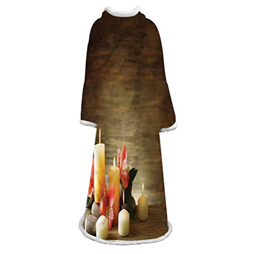 LCGGDB Sherpa Fleece Blanket with Sleeves,Candles Wellbeing Unity Throw TV Blanket