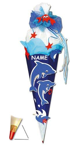alles-meine.de GmbH BASTELSET Schultüte -  Delfin & Fisch  - 85 cm - incl. Namen - mit Holzspitze - Zuckertüte Roth - ALLE Größen - 6 eckig Mädchen Jungen Fische Delfine Unterw..
