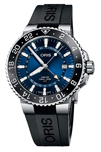 Aquis GMT Armbanduhr mit blauem Zifferblatt, 43,5 mm