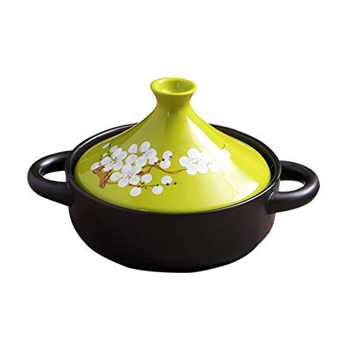 ZHHZ Olla de cerámica marroquí, Olla de Esmalte Antiadherente con Tapa de cerámica, Adecuada para Olla de Cocina, Verde