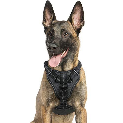 rabbitgoo Hundegeschirr für mittlere Hunde Anti Zug Geschirr, No Pull verstellbares Brustgeschirr, weiches reflektierend Dog Harness mit Griff (schwarz, XL)