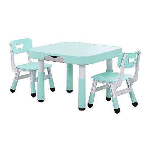 SMLZV Tabla niños y Juego de sillas, niños pequeños ajustable Altura de la mesa con 1/2 Actividad Sillas, Mesa de comedor Juego de Mesa de aprendizaje, for el estudio de juegos interior uso al aire li