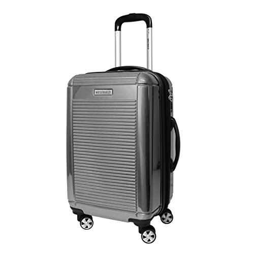 World Traveler Regal Hardside Lightweight Spinner Luggage Suitcase, Silver (20-inch) -Carry-on