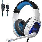 Auriculares para PC con micrófono Auriculares USB para PS4/Xbox one/Ordenador Auriculares para juegos con micrófono Orejeras de memoria blanda sobre el oído Auriculares USB