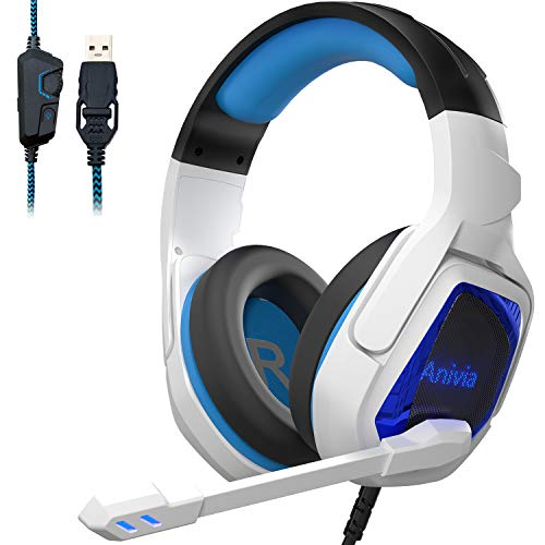 Gaming Headset for PC PS4 Computer Headphone Surround Stereo Sound USB Wired Headset with Mic Over-The-Ear Noise Isolating, Volume Control, LED Lights for PC Gamers (White) -  Anivia, MH602-P