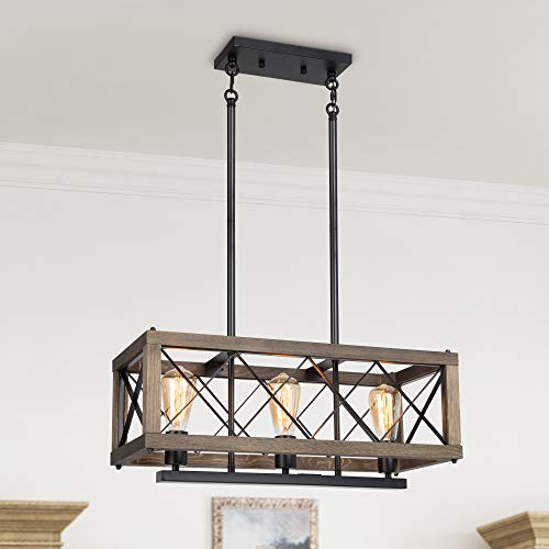 LALUZ Modern Farmhouse Chandelier, 3-Light Dining Room Light in Rustic Wood and Black Metal Finish, 24' Rectangular Chandelier for Kitchen Island