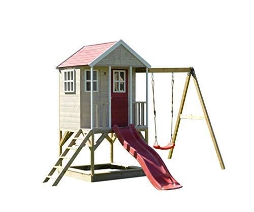 Wendi Toys M10 | Casita infantil de madera en plataforma con columpios individuales para exteriores Niños