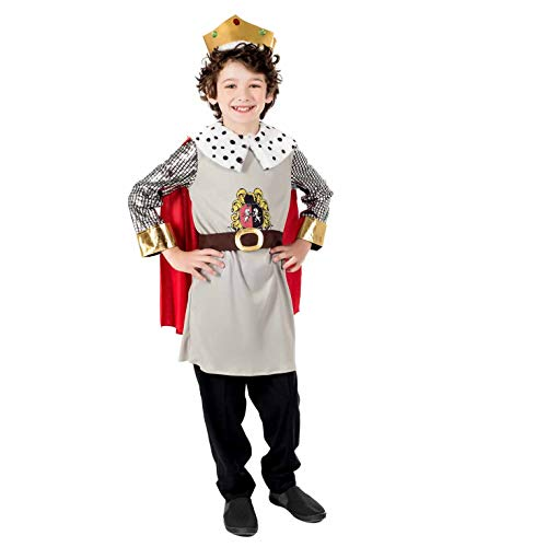 Kids King Costume Childrens Royal Robes Historical Ruler Crown Outfit - Small
