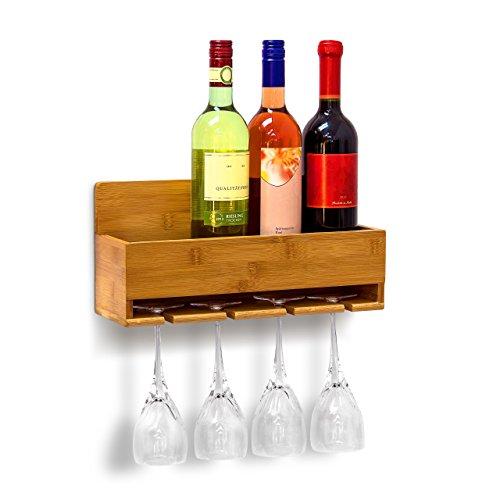 Relaxdays Weinregal mit Glashalter H x B x T: ca. 17 x 37 x 11,5 cm Flaschenregal aus Bambus mit Platz für 4 Flaschen & 4 Gläser zur Wandmontage Hängeregal Holz als Weinflaschenhalter Ablage, natur