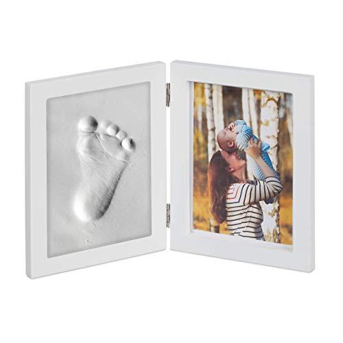 Relaxdays Cornice Portafoto per Bambini con Calco in Gesso, Set per l'Impronta della Mano o Piedino, Fai-da-Te, Bianco, Legno, plastica, 1 pz