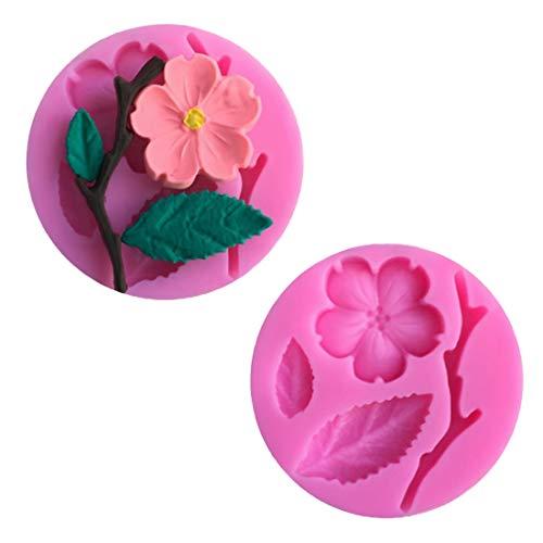 Fondant, Blume und Blatt aus Silikon, für Tortendekoration, Schokolade, Rosa