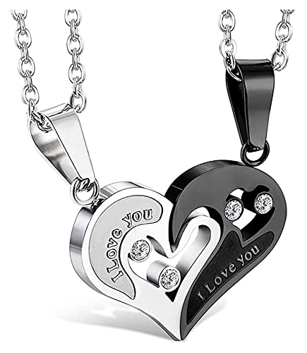 Jsmhh Collar de Acero Inoxidable para Mujer Colgante Colgante corazón Rompecabezas 22 Pulgadas Cadena 2 Piezas un Conjunto (Color : Style 2)