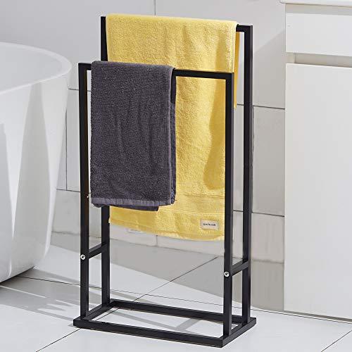 Free Standing Towel Rack, 2 Tier Stainles Steel Floor Towel Bar Holder, Pool Towel Drying Rack for Outdoor, Bathroom, Blanket Rack, Black,