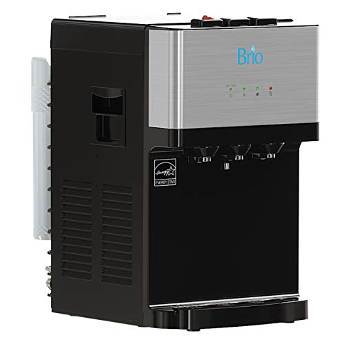 Brio Countertop Self Cleaning Bottleless Water Cooler Dispenser with Filtration - Hot Cold and Room Temperature Water. Free Extra Replacement Filters Included - UL/Energy Star Approved