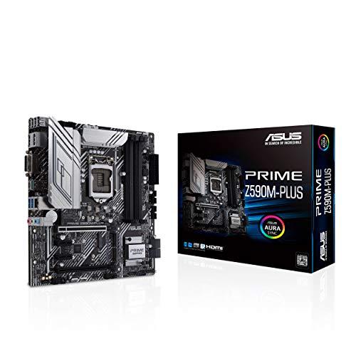 ASUS PRIME Z590M-PLUS, Scheda madre Intel Z590 micro ATX con PCIe 4.0, 9 fasi DrMOS, DisplayPort, HDMI, DVI, Intel 1 Gb Lan, USB 3.2 Gen 2x2 Type-C, Thunderbolt 4, Aura Sync RGB