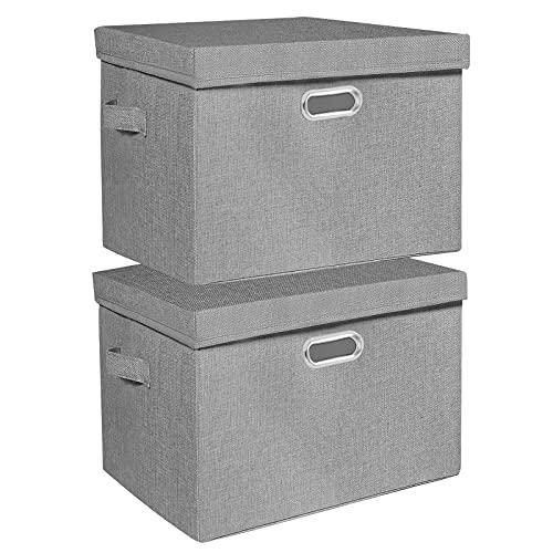 JYPS 2 cajas de almacenamiento plegables extragrandes con tapa y asas, cubos de almacenamiento lavables de tela de lino para ropa,...
