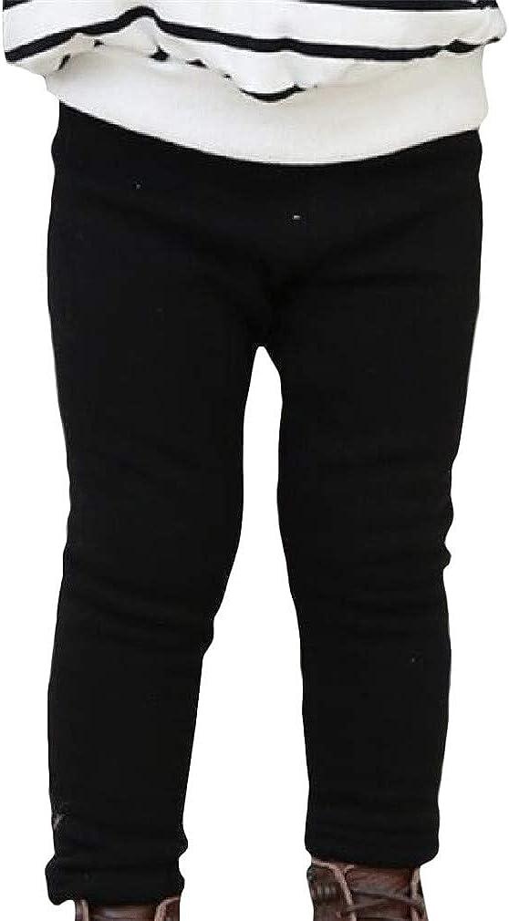 XiaoTianXinBaby XTX Girl Elastic Waist Thicken Fleece Stretch Comfy Faux Fur Lined Legging Black 3T