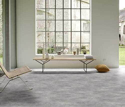 PVC Bodenbelag in marmoriertem Beton (12,95€/m²), Zuschnitt (5m breit, 7m lang)