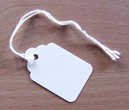 100 Quality White Strung Tags 37mm x 24mm from MacIntyre