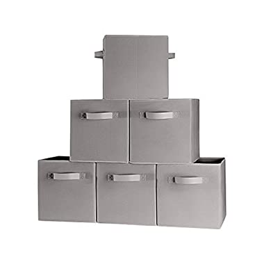 [6-Pack,Gray] Foldable Storage Cubes with Dual Handle Shelves Baskets Bins Containers Home Decorative Closet Two Handles Organizer Household Fabric Cloth