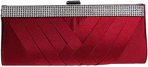 Women's Evening Handbags Evening Bag Woven Texture Dress Bag, Satin Banquet Bag, Rhinestone Clutch, Shoulder Bag (Color : Wine Red)