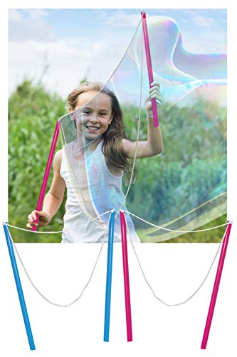 WhizBuilders Giant Bubble Wand Pack of 4 Outdoor Water Toys for Kids Birthday Activity and Party Favor Wands to Make Bubbles
