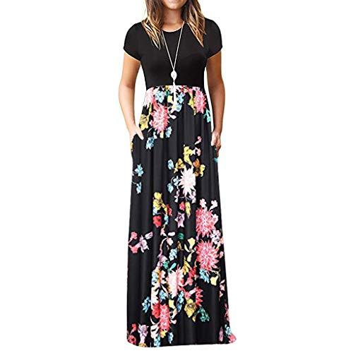 TIFIY Sommerkleid Damen,Elegante Casual Ärmel Oansatz Druck Maxi Blumen Langes Kleid Boho Strand Partykleider Hemdkleider (A_ j,S