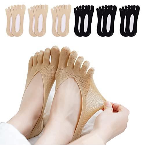 K·K Damen Orthopädische Zehensocken - 5/6 Paare Zehensocken Ultra Low Cut Liner Weich mit Atmungsaktivem Gel-Label Söckchen zur Linderung von Fußschmerzen (Stil 1- 3schwarz+ 3hautfarbe)