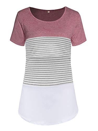 Love2Mi Damen Mutterschaft Spitze gestreift Stillende Oberteile Kurzarm Stitching Stillendes T-Shirt, Rosa, L