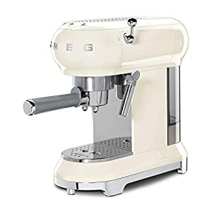 Smeg ECF01CRUK Traditional Pump Espresso Coffee Machine, Adjustable Cappuccino System, Flow Stop Function, Removable Drip-Tray, Anti-Drip System, Anti-Slip Feet, 1350 W, 1 Litre Tank, Cream