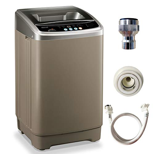 WANAI Full-Automatic Washing Machine, 15lbs Portable Compact 2 in 1 Laundry Washer with Drain Pump, 10 Programs 8 Water Level Selections with LED Display, Ideal for Dorm Apartment and Camping
