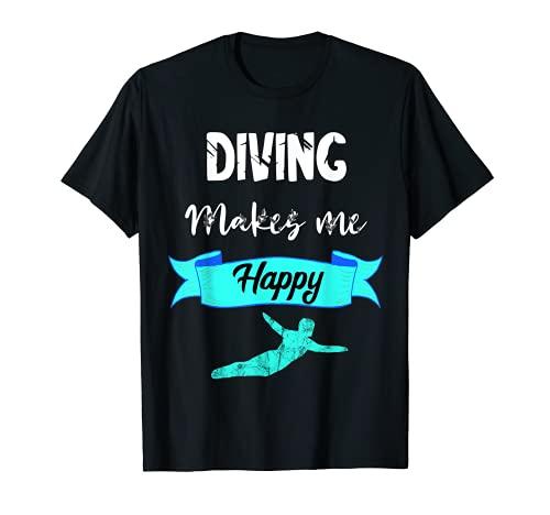 Buceo me hace feliz Plataforma de buceo de trampolín Buceador Camiseta