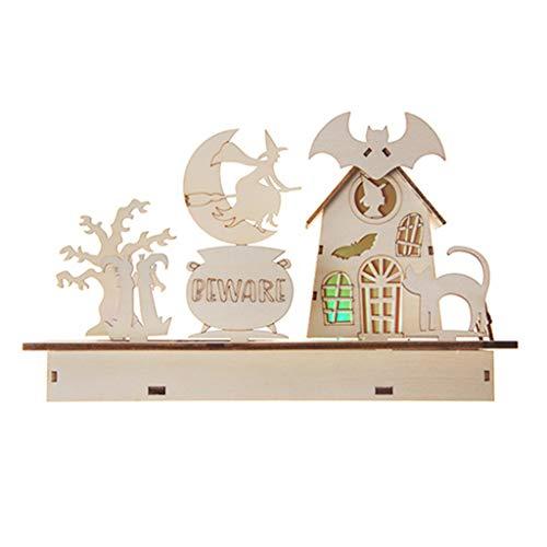 Green & Rare Accesorios decorativos para Halloween, novedosos y aterradores, decoraciones de Halloween, casa de madera, gato brujo con luz LED, adornos en casa o fiesta